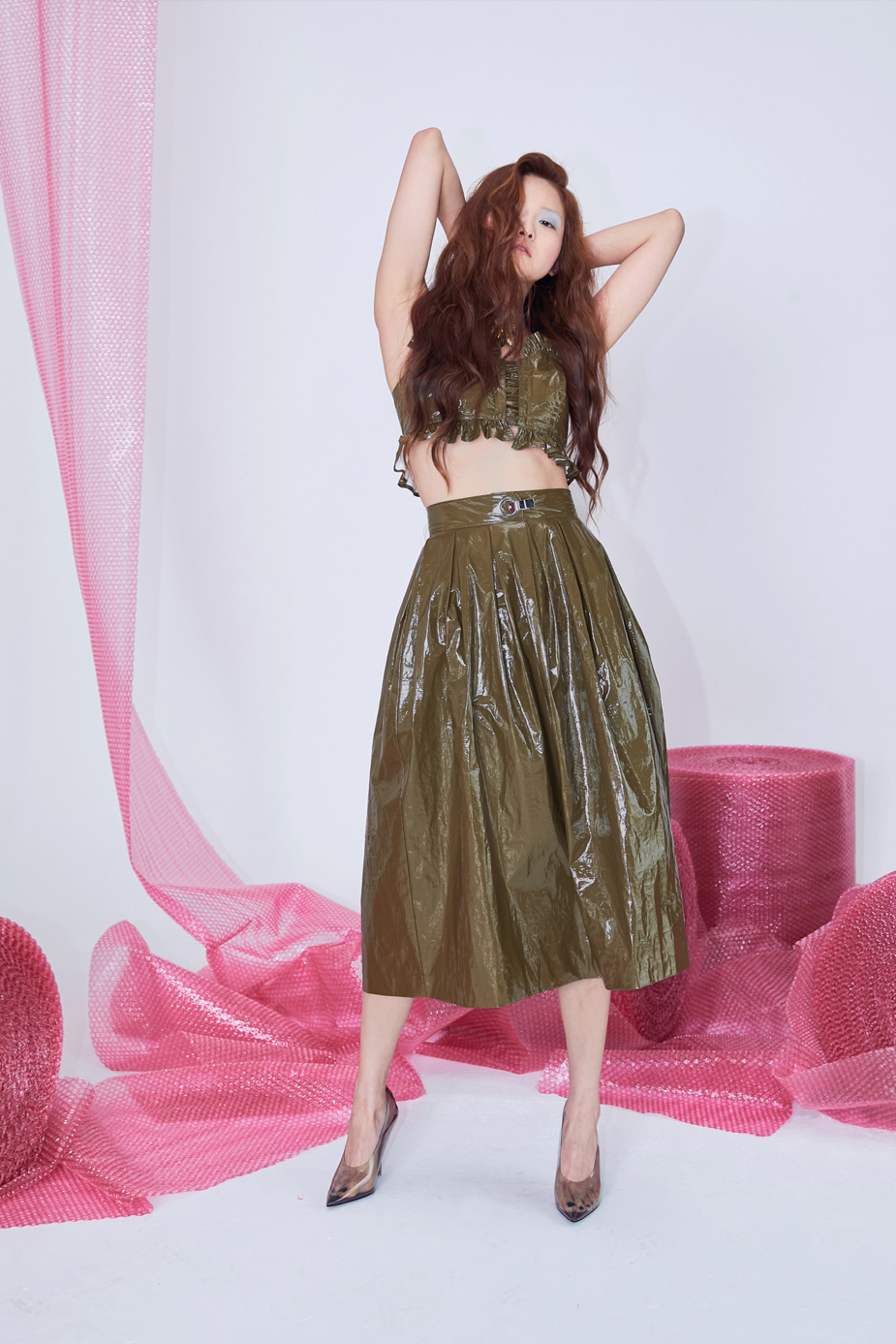 Glossy Skirts(OLIVE)