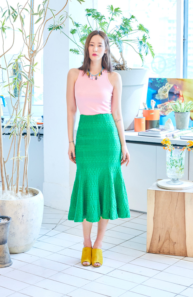 Neon Mermaid Skirt(OLIVE GREEN)