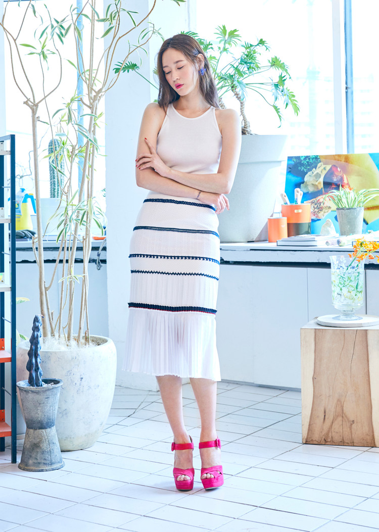 Fabric Block Skirt(NAVY)