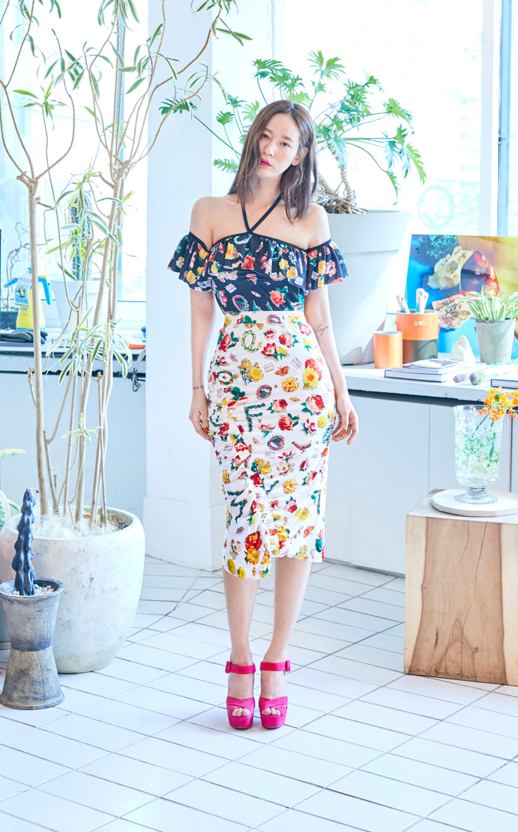 Flower Shirring Skirt