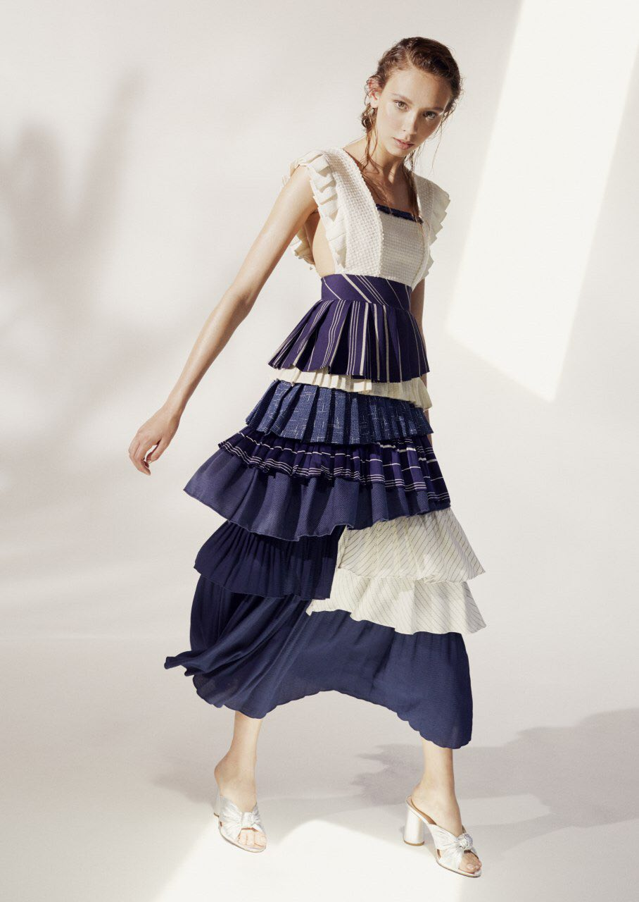 Marine Pleats Dress