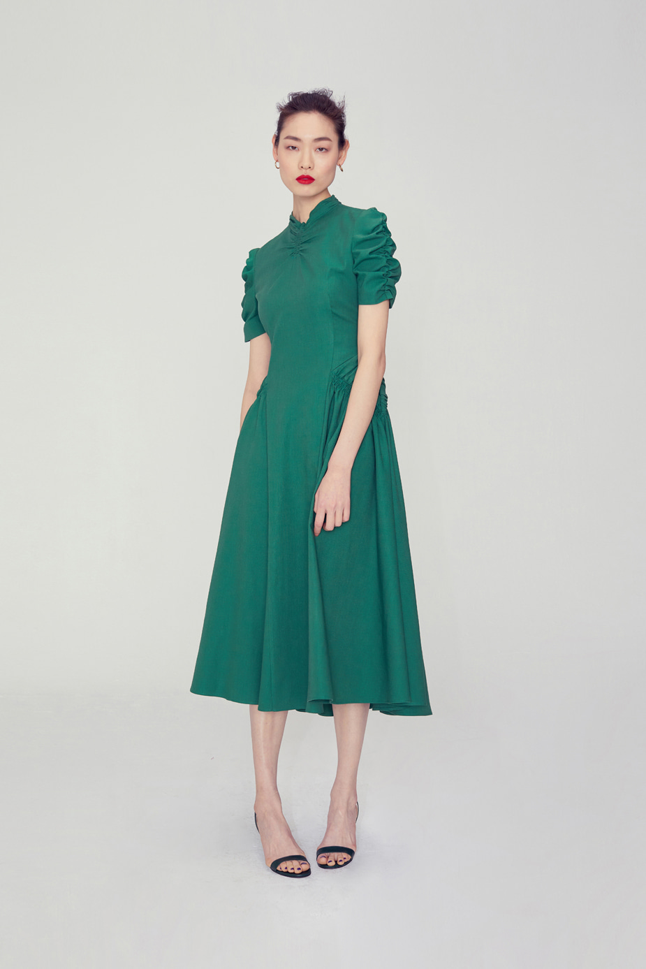 Luna Shirring Dress(GREEN)