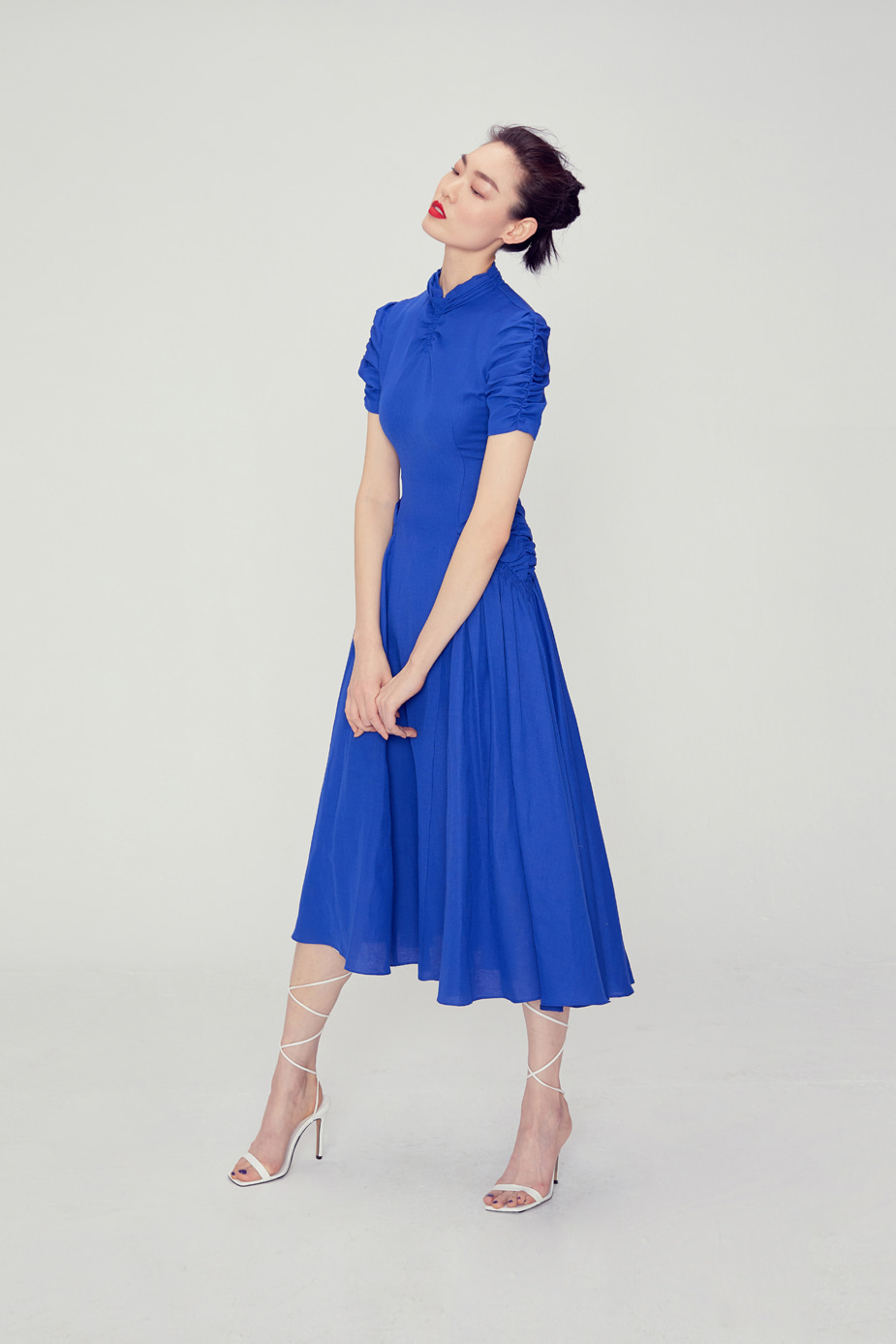 Luna Shirring Dress(BLUE)