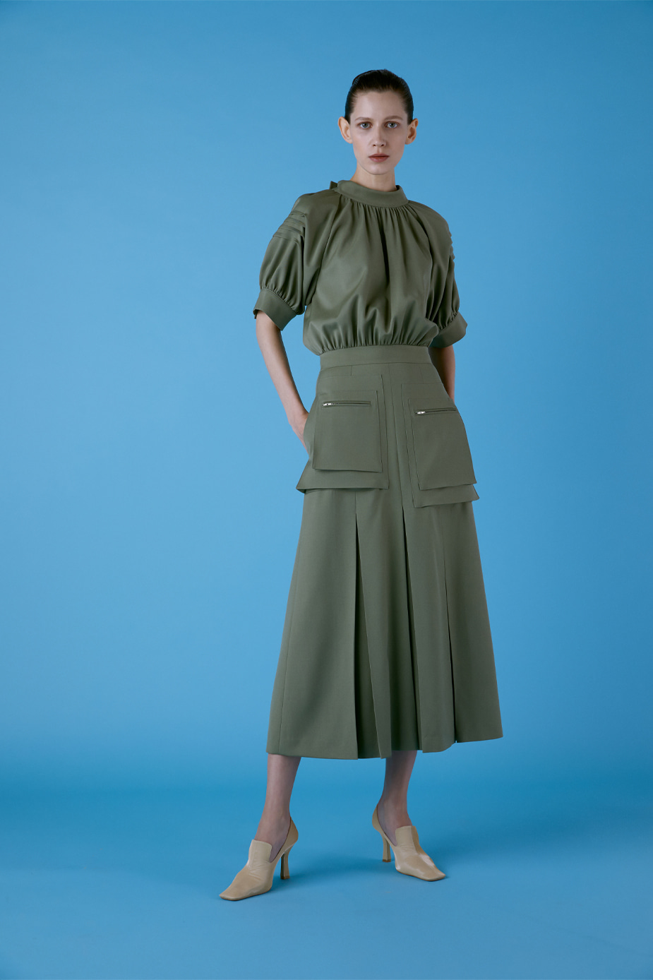 Puff Sleeve Cargo Dress